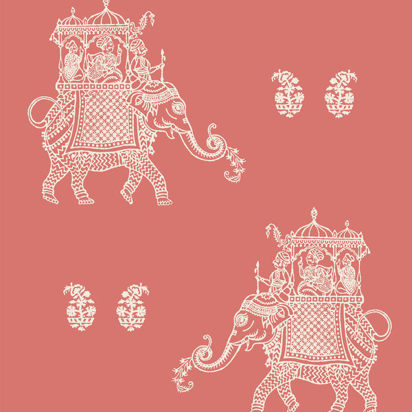 Caravan Coral Elephant Peel and Stick Wallpaper