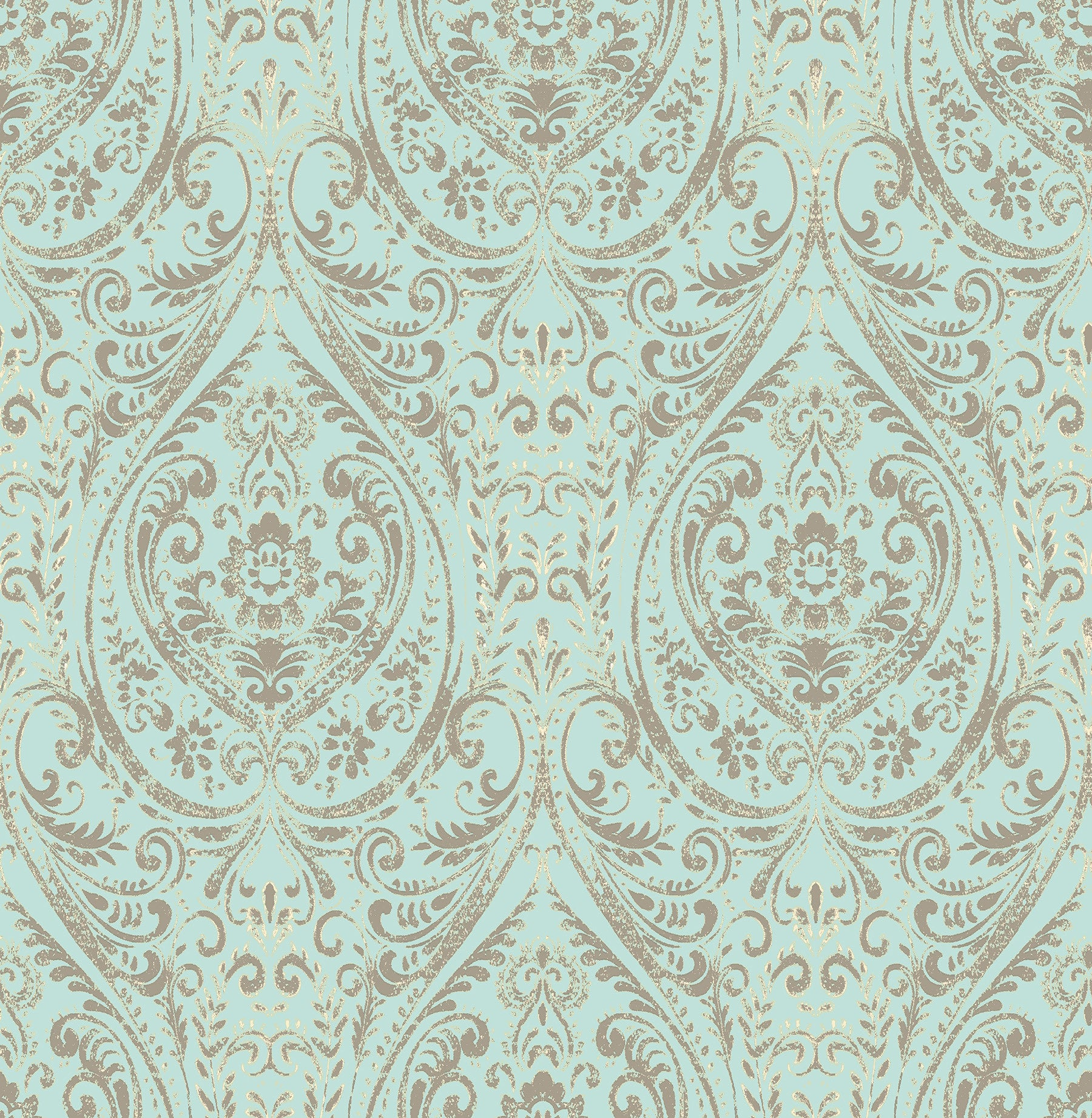 Nomad Damask Turquoise Damask Peel and Stick Wallpaper