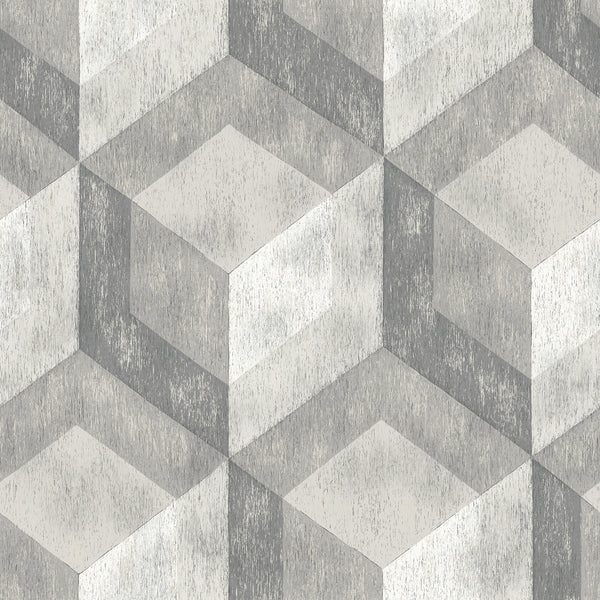 Bauhaus Weathered Wood Grey Geometric Peel and Stick Wallpaper