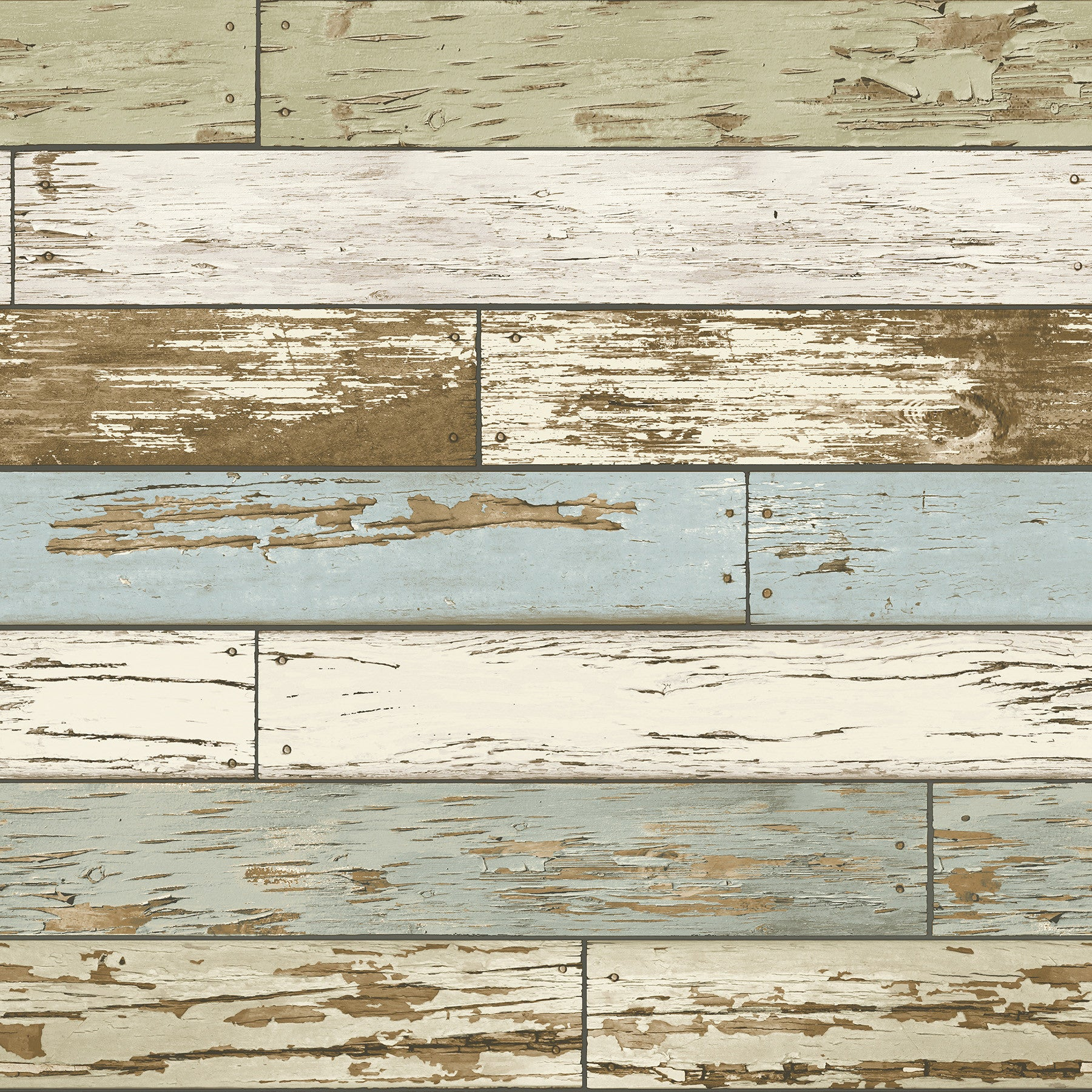 Old Salem Vintage Wood Green Planks Peel and Stick Wallpaper