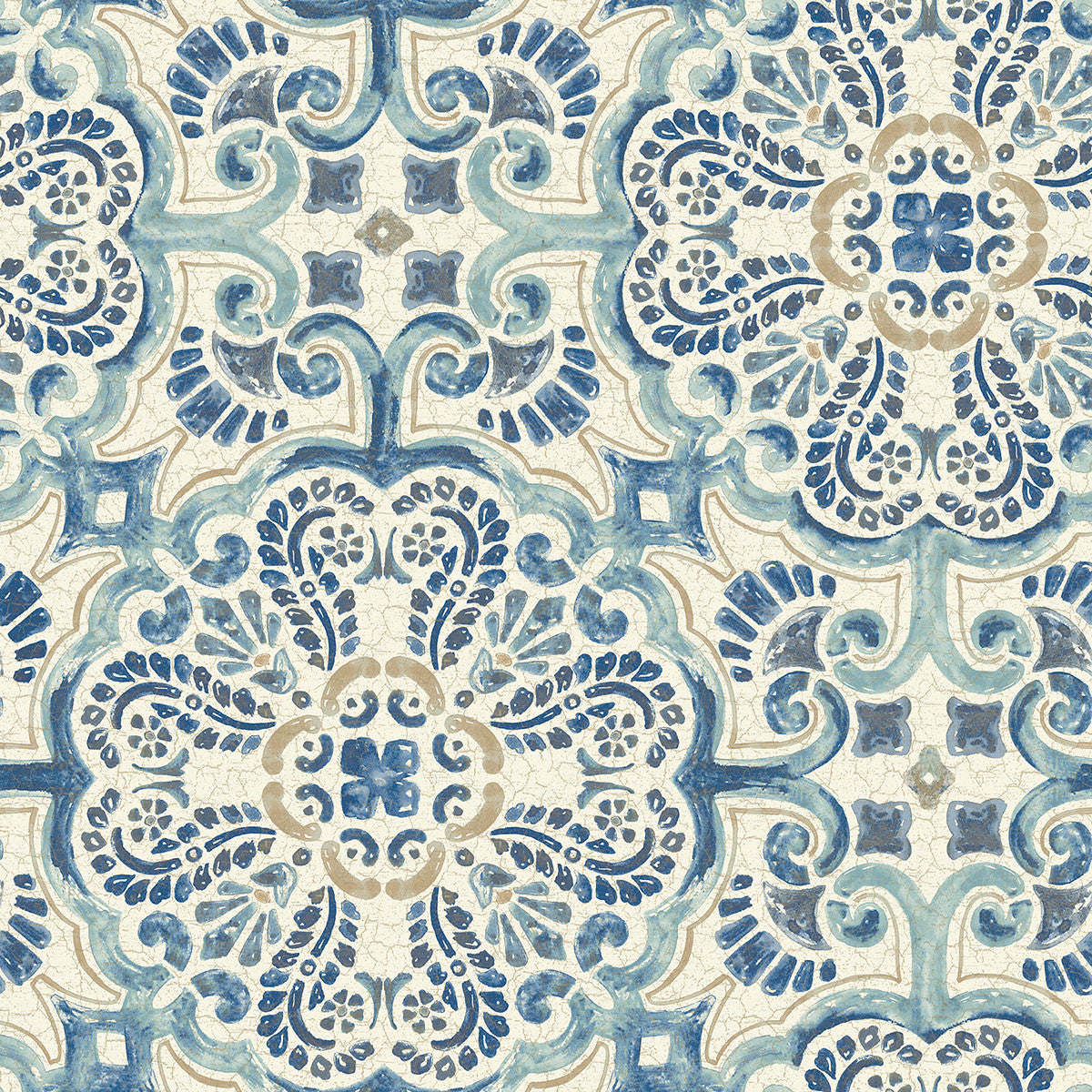 Blue Florentine Tile Peel and Stick Wallpaper