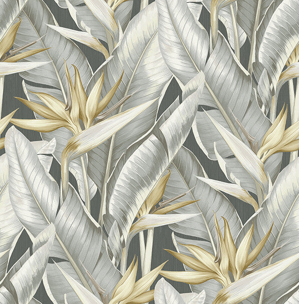 Arcadia Grey Banana Leaf Wallpaper
