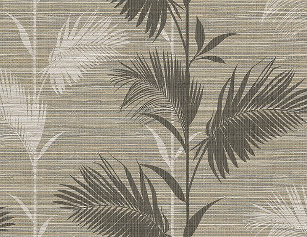 Away On Holiday Brown Palm Wallpaper