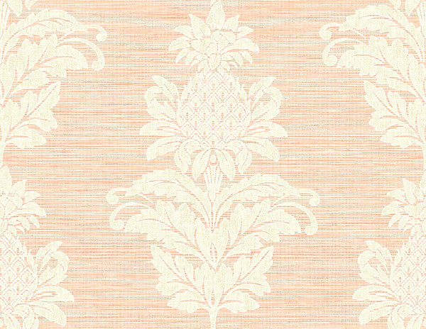Pineapple Grove Pink Damask Wallpaper