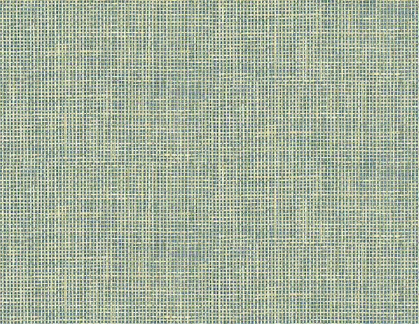 Woven Summer Green Grid Wallpaper