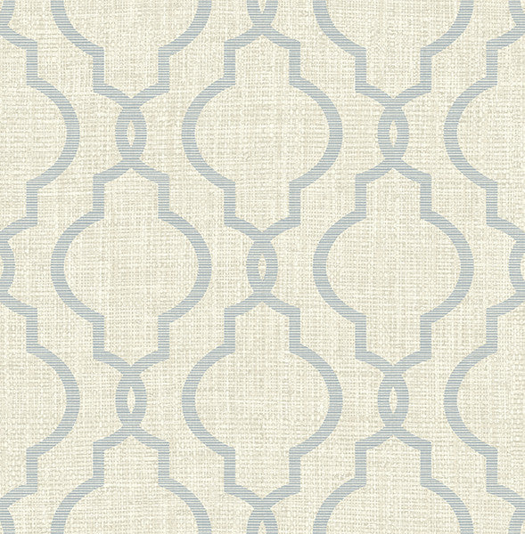 Geometric Jute Grey Quatrefoil Wallpaper