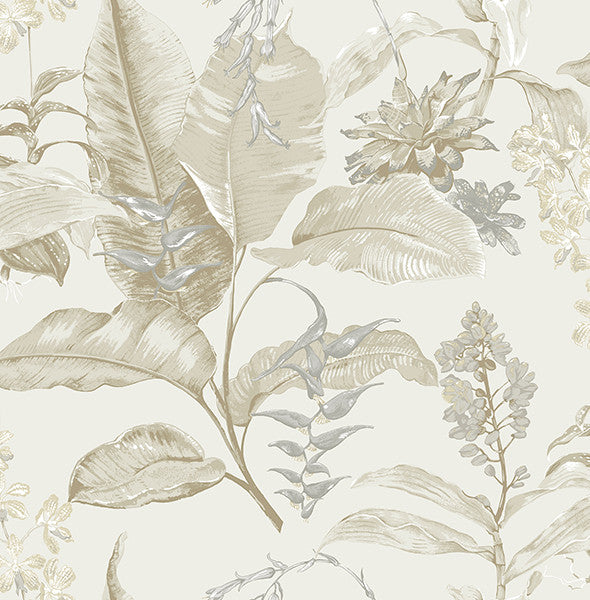 Maui Beige Botanical Wallpaper