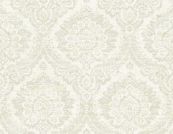 Kauai Taupe Damask Wallpaper