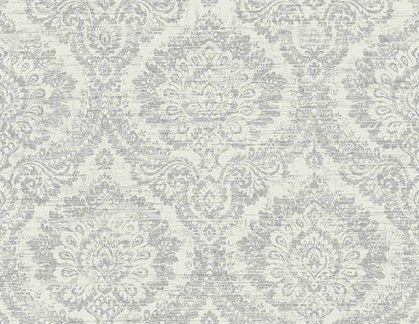Kauai Grey Damask Wallpaper