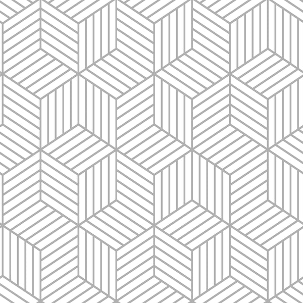 Stripped Hexagon White/Grey Peel & Stick Wallpaper