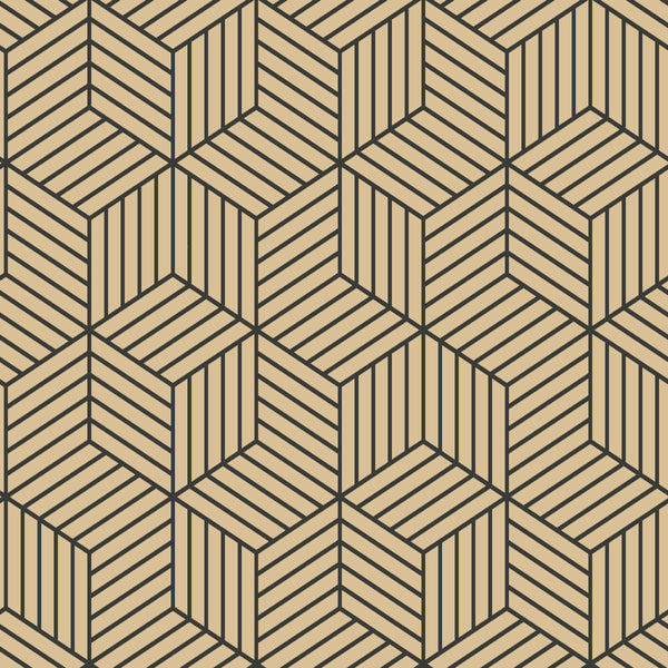 Stripped Hexagon Gold/Black Peel & Stick Wallpaper