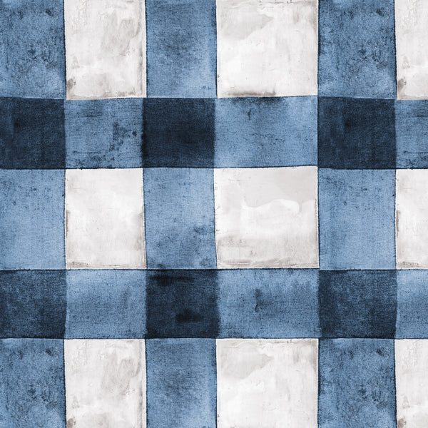 Buffalo Plaid Blue Peel & Stick Wallpaper