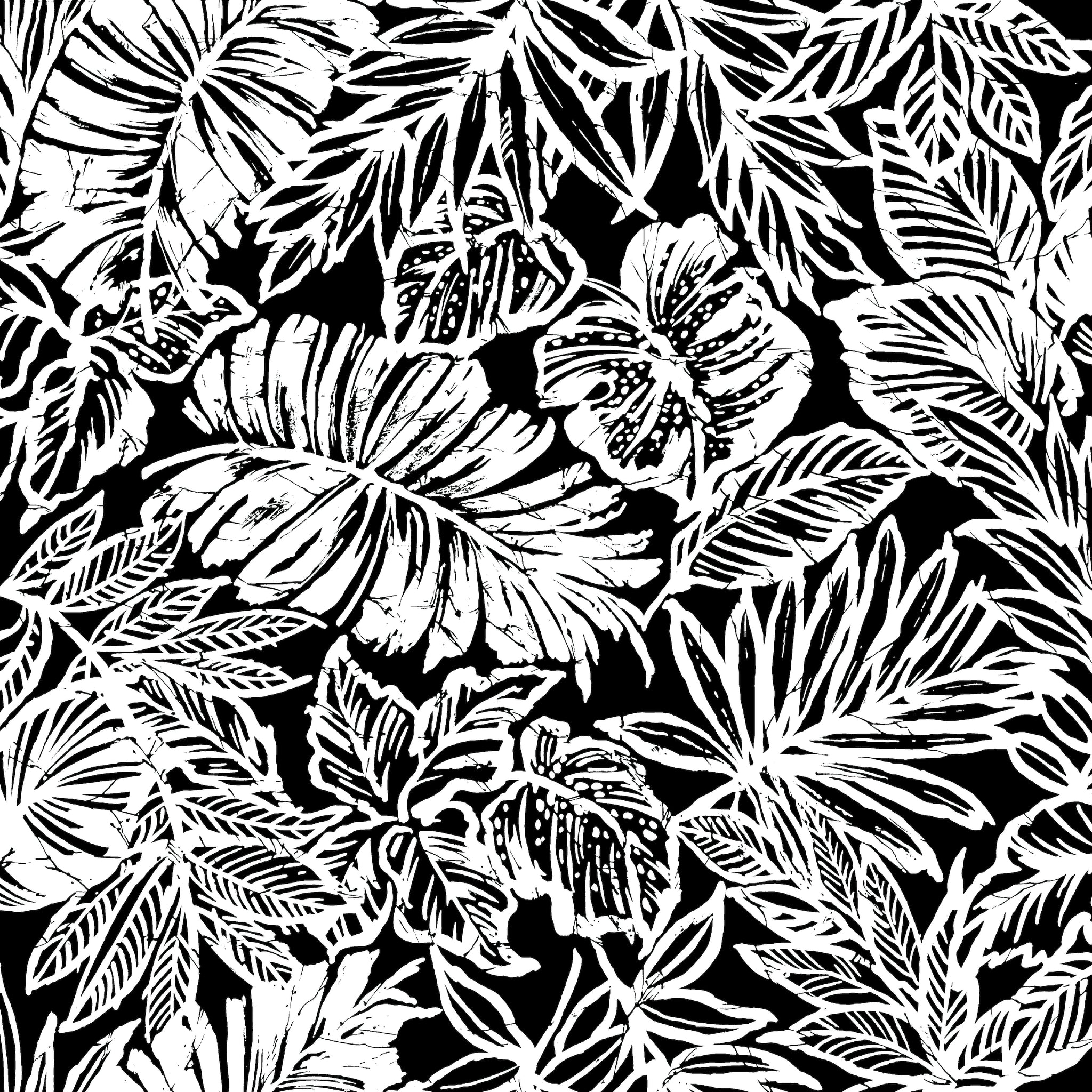 Tropical Leaf Black Peel & Stick Wallpaper