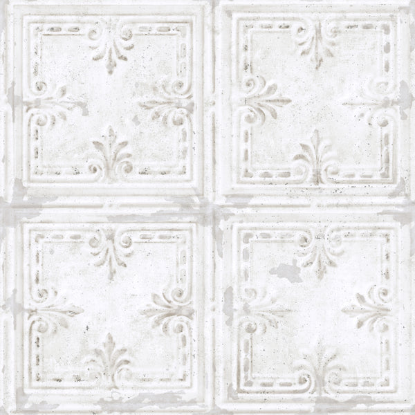 Tin Tile White Peel & Stick Wallpaper