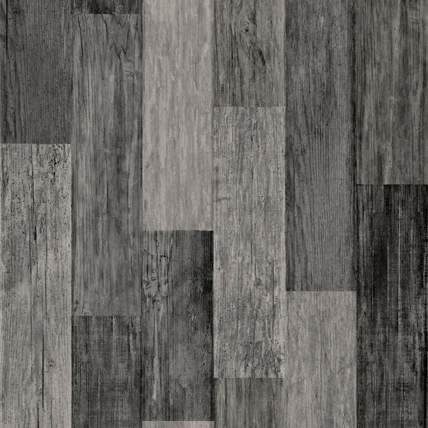 Weathered Wood Plank Black Peel & Stick Wallpaper