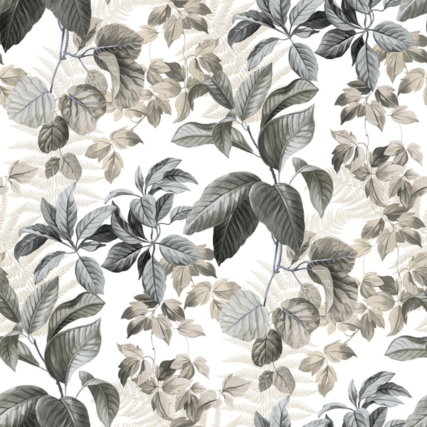 Rainforest Neutral Leaves Peel & Stick Wallpaper