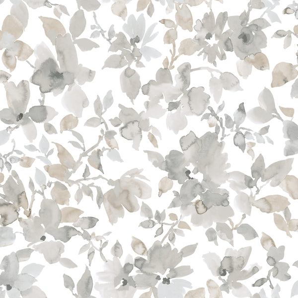Neutral Watercolor Floral Peel & Stick Wallpaper