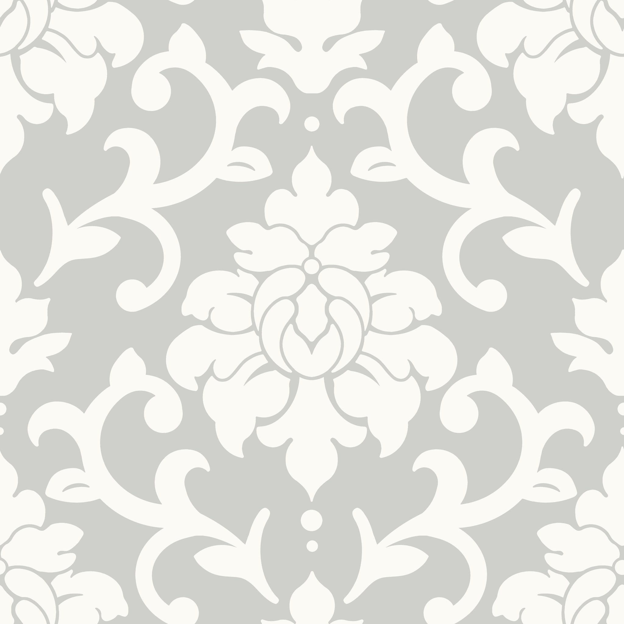 Damask Grey Peel Stick Wallpaper
