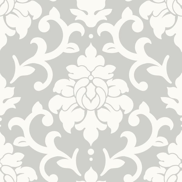 Damask Grey Peel & Stick Wallpaper