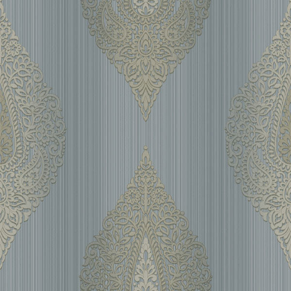 Taj Blue Damask Medallion Stripe Wallpaper