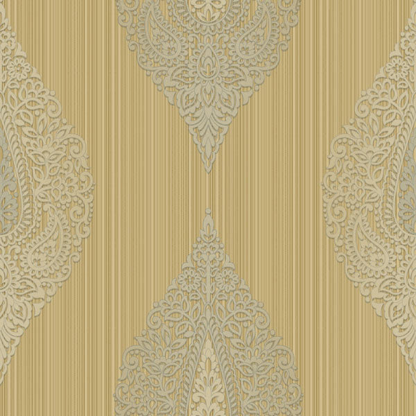 Taj Beige Damask Medallion Stripe Wallpaper