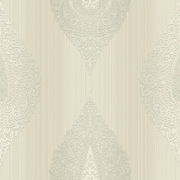 Taj Grey Damask Medallion Stripe Wallpaper