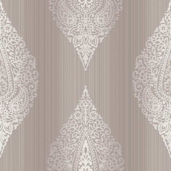 Taj Purple Damask Medallion Stripe Wallpaper