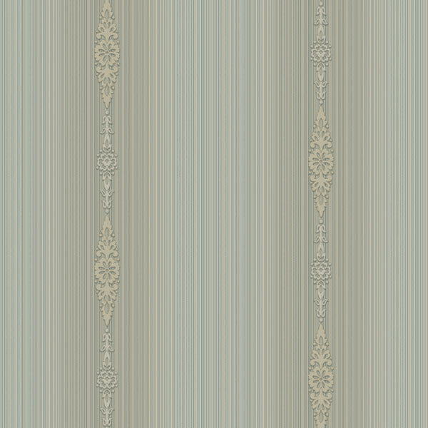 Devi Blue Embellished Stripe Wallpaper