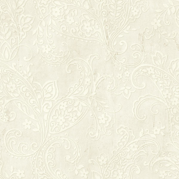 Chola Grey Textured Scroll Wallpaper