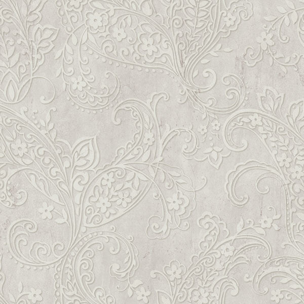 Chola Taupe Textured Scroll Wallpaper