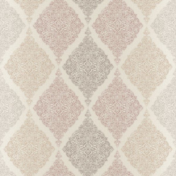 Ankara Taupe Diamond Medallion Wallpaper