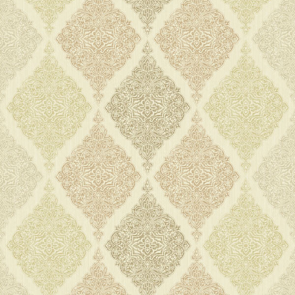 Ankara Beige Diamond Medallion Wallpaper