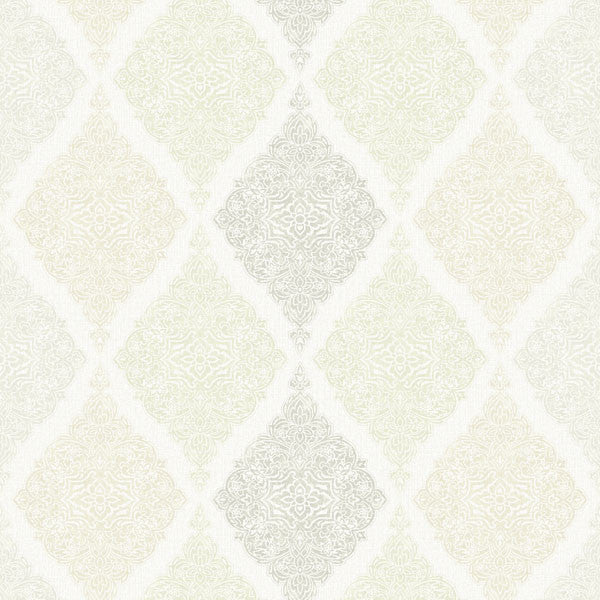 Ankara Grey Diamond Medallion Wallpaper