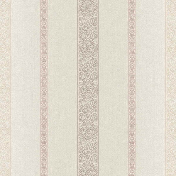 Chennai Taupe Ornament Stripe Wallpaper
