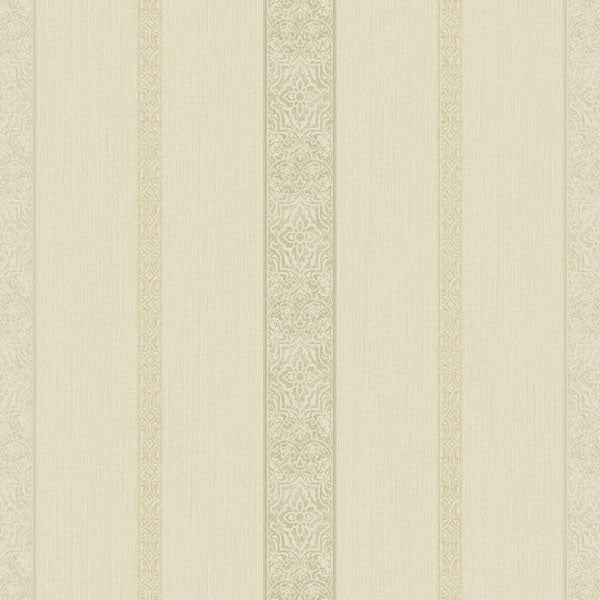 Chennai Beige Ornament Stripe Wallpaper