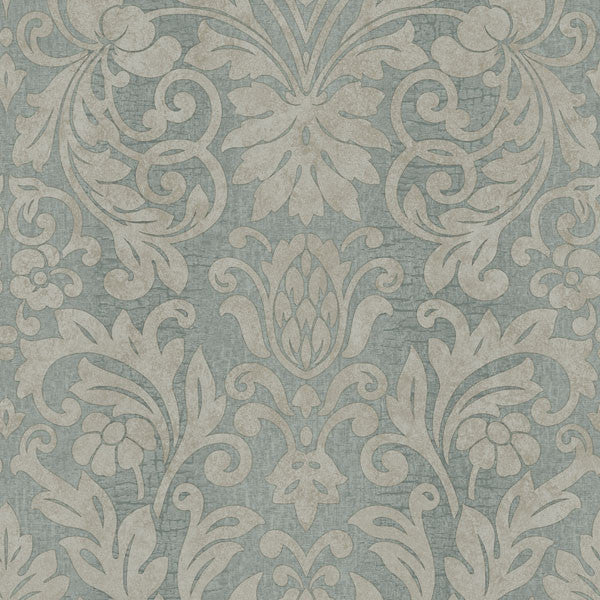Nanda Blue Grand Damask Wallpaper