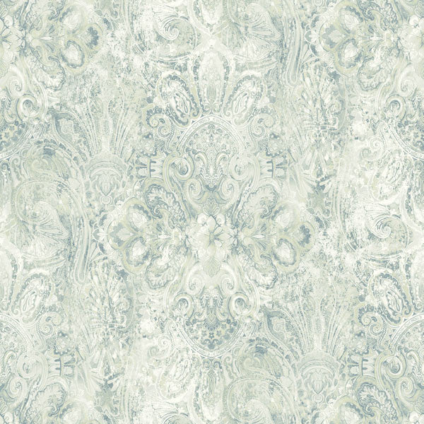 Mystique Blue Embellished Damask Wallpaper
