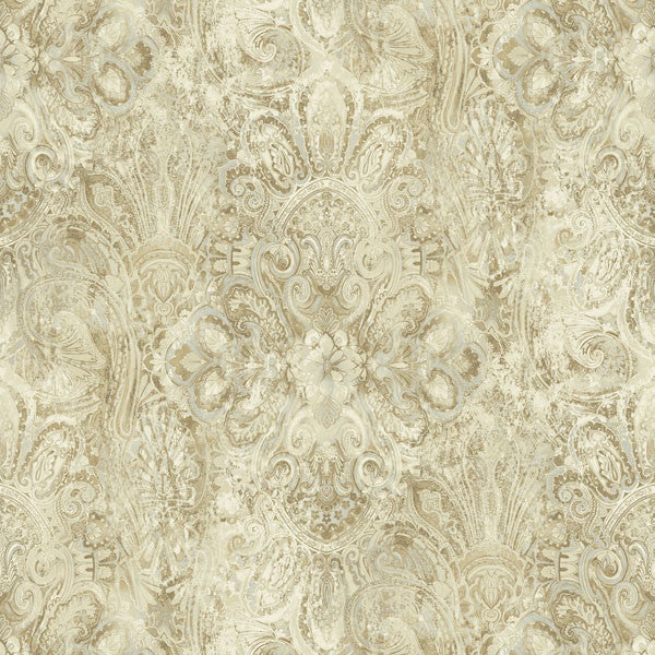 Mystique Brown Embellished Damask Wallpaper