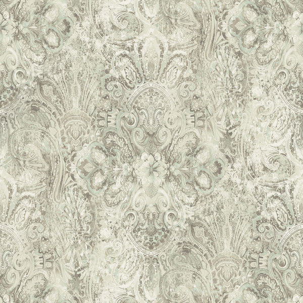 Mystique Taupe Embellished Damask Wallpaper