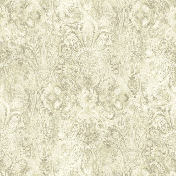 Mystique Beige Embellished Damask Wallpaper