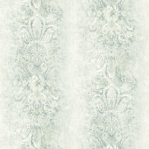 Patrina Blue Damask Stripe Wallpaper