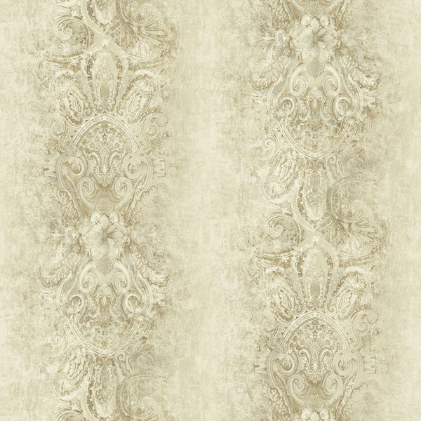Patrina Brown Damask Stripe Wallpaper