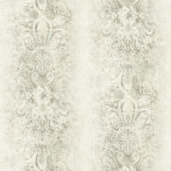 Patrina Taupe Damask Stripe Wallpaper