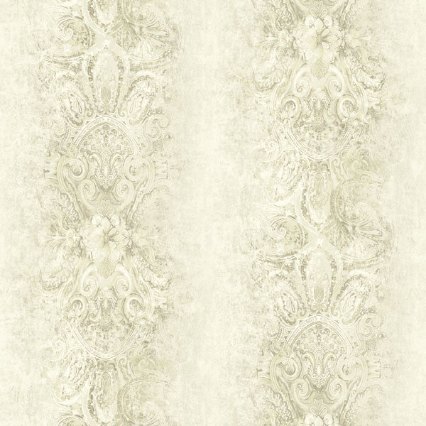 Patrina Beige Damask Stripe Wallpaper
