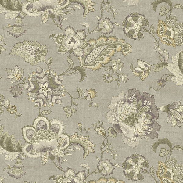 Namaste Grey Jacobean Floral Wallpaper
