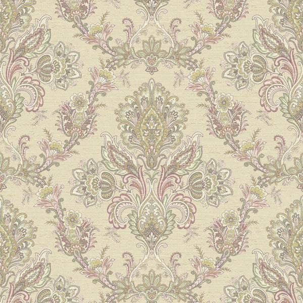 Kerala Red Jacobean Damask Wallpaper