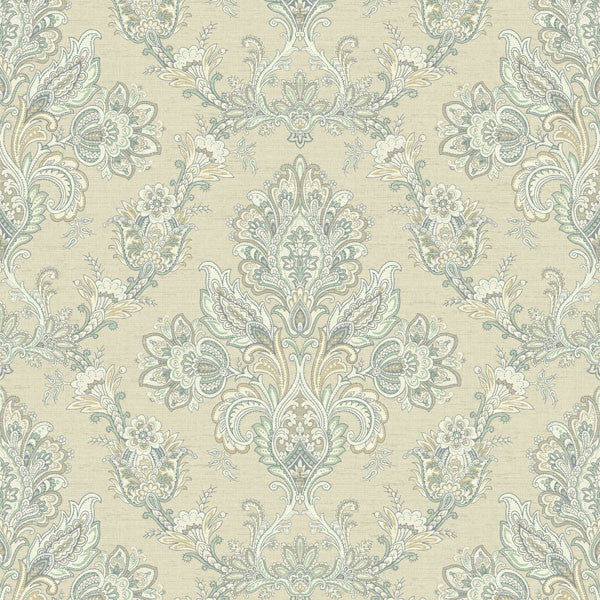 Kerala Cream Jacobean Damask Wallpaper