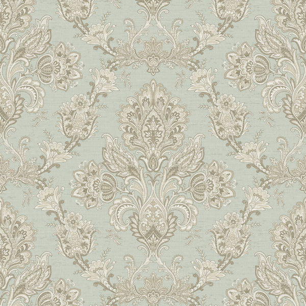 Kerala Green Jacobean Damask Wallpaper