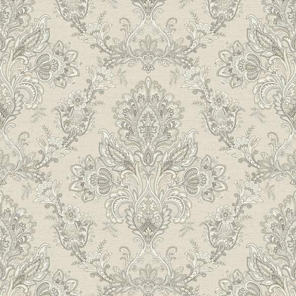 Kerala Beige Jacobean Damask Wallpaper