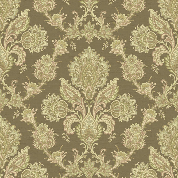 Kerala Brown Jacobean Damask Wallpaper